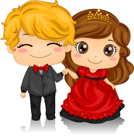 sweethearts: Illustration of a Couple Attending a Valentine Ball Stock Photo