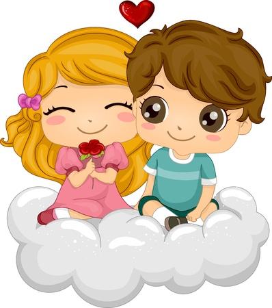 suitor: Illustrazione di bambini seduti sulle nuvole