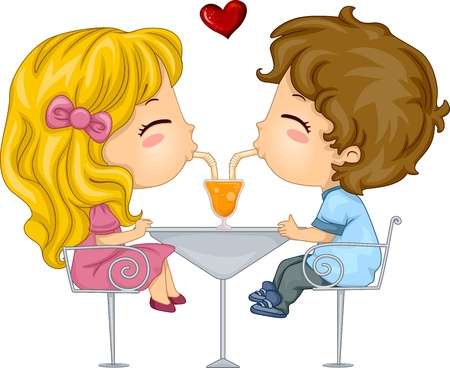 lemonade: Illustration of Kids Sharing a Drink