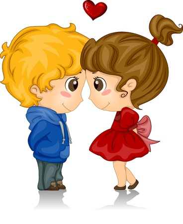 love couple: Illustration of Kids with Foreheads Touching