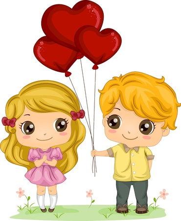 courtship: Illustration of a Boy Giving a Girl a Bunch of Balloons Stock Photo