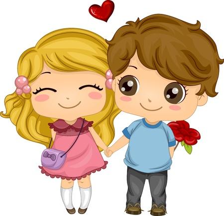 amor adolescente: Ilustraci�n de una pareja que mantenga las manos al caminar