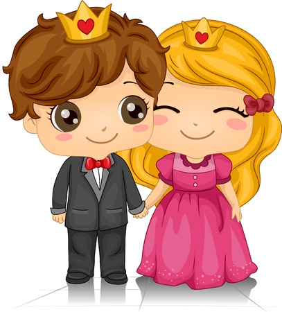love couple: Illustration of a Couple Wearing Crowns on Their Heads Stock Photo