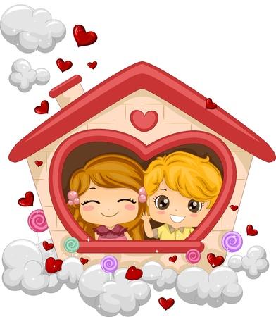 make love: Ilustraci�n de los ni�os en una casa de juegos