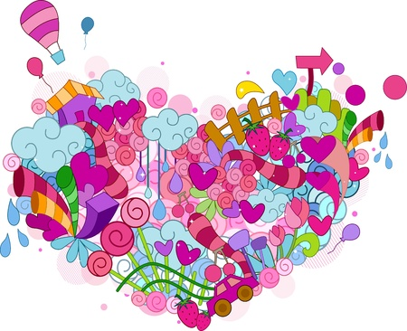 mishmash: Illustration of Random Doodles Forming the Shape of a Heart Stock Photo