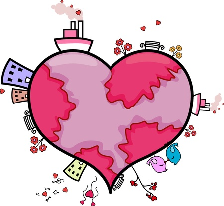 lovebirds: Illustration of a Heart-shaped World Stock Photo