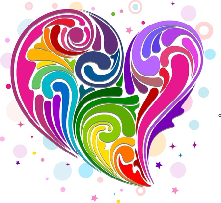 Illustration of Rainbow-colored Swirls Forming the Shape of a Heart Stock Illustration - 8704959