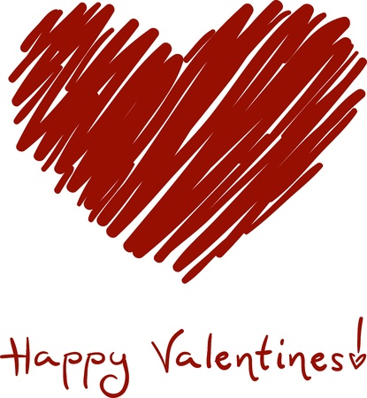 Sketch of a Heart with a Valentine Greeting Written Underneath Stock Photo - 8704948