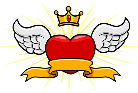 Illustration of a Winged Heart with a Crown Above illustration