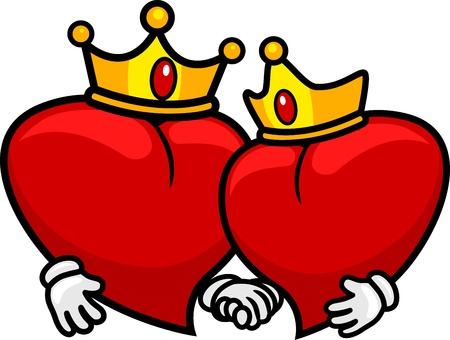 queen of hearts: Illustration of a Pair of Hearts Wearing Crowns