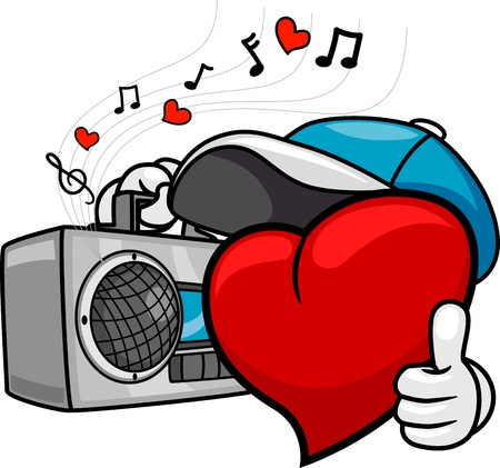 love song: Illustration of a Heart Doing a Thumbs Up While Listening to Music Stock Photo