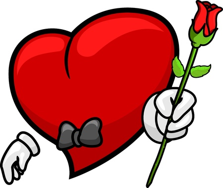 cartoon heart: Illustration of a Heart Giving a Rose Stock Photo