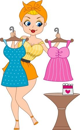 Illustration of a Pinup Girl Dressing Up for Her Date illustration