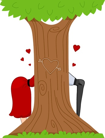 concealed: Illustration of a Pinup Couple Partly Concealed By a Tree with a Carved Heart