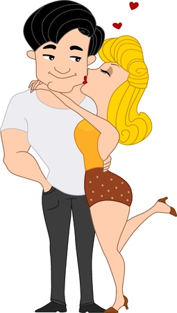 hot couple: Illustration of a Pinup Girl Giving a Guy a Kiss on the Cheek Stock Photo