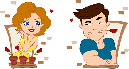 courtship: Illustration of a Pinup Guy Trying to Make a Good Impression on a Girl Stock Photo