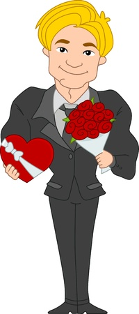 suitor: Illustration of a Pinup Guy Carrying Valentine Gifts Stock Photo