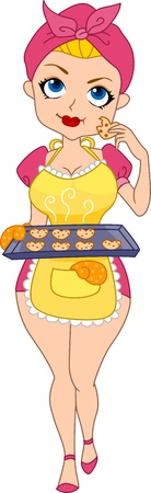Illustration of a Pinup Girl Tasting the Heart Cookies She Baked illustration