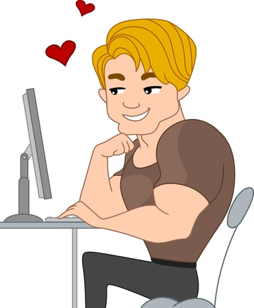 Illustration of a Pinup Guy Chatting with Someone Through the Internet illustration