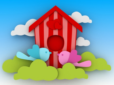 3D Illustration of a Bird Couple Kissing in Front of their Birdhouse