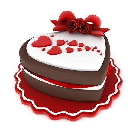 adorned: Illustration of a Heart-shaped Cake Adorned with a Ribbon and Heart-shaped Frosting Stock Photo