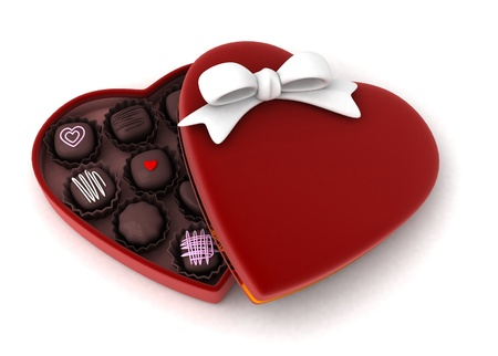 box of chocolates: Illustration of a Partially Open Gift Filled with Chocolates