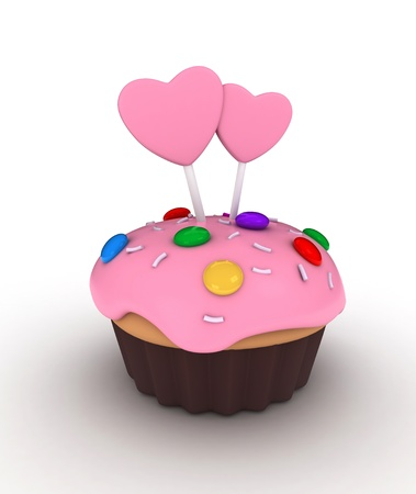 Illustration of a Cupcake Topped with Candies, Sprinkles, and Frosted Hearts on Sticks illustration