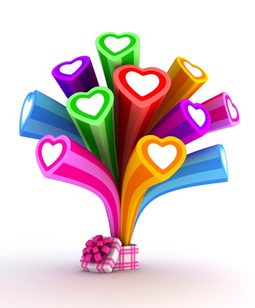 giftbox: Illustration of Colorful Hearts Bursting from a Giftbox Stock Photo