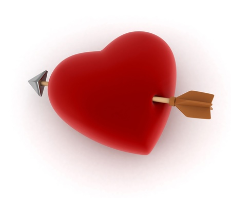 inlove: Illustration of a Heart Hit by an Arrow Stock Photo