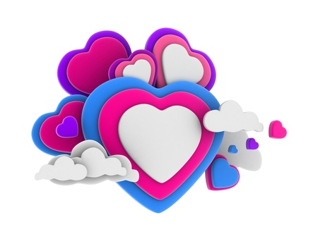 heartshaped: 3D Illustration of Colorful Heart-shaped Clouds