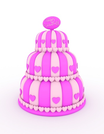 3D Illustration of a Three-Layered Cake with Valentine Greetings at the Top Stock Illustration - 8756689