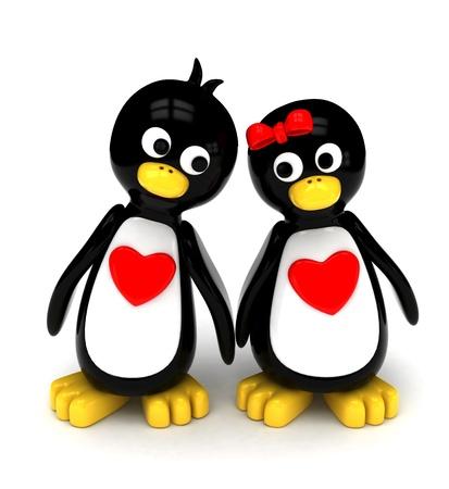 3D Illustration of a Penguin Couple Holding Hands While Walking Side by Side illustration