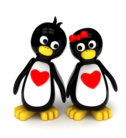 holding hands while walking: 3D Illustration of a Penguin Couple Holding Hands While Walking Side by Side Stock Photo