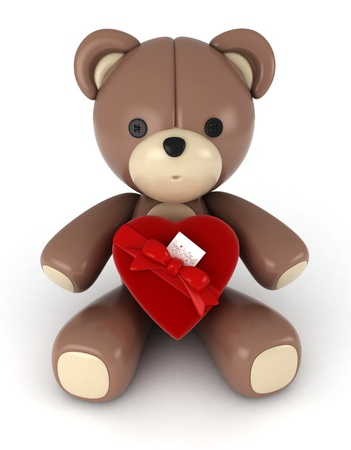 3D Illustration of a Stuffed Toy with a Heart Shaped Accessory Pinned on His Fur illustration