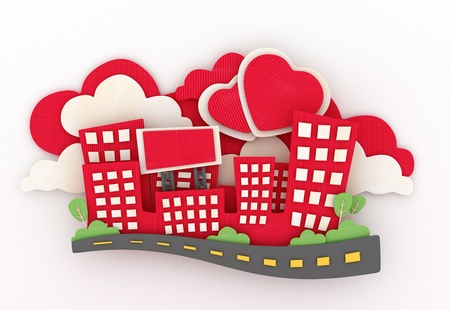 paper sculpture: 3D Illustration of a Paper Sculpture of a Mini City with Heart-shaped Clouds in the Background