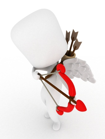 Illustration of a Man Dressed as Cupid Preparing to Release an Arrow Stock Illustration - 8756694
