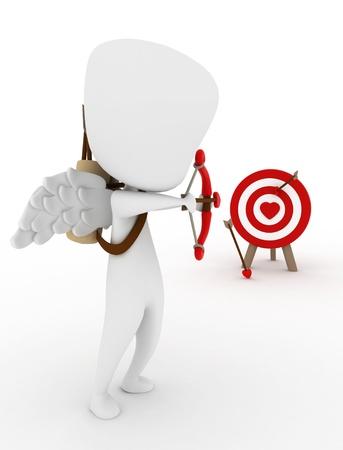 3D Illustration of a Cupid Target Shooting Stock Illustration - 8756659