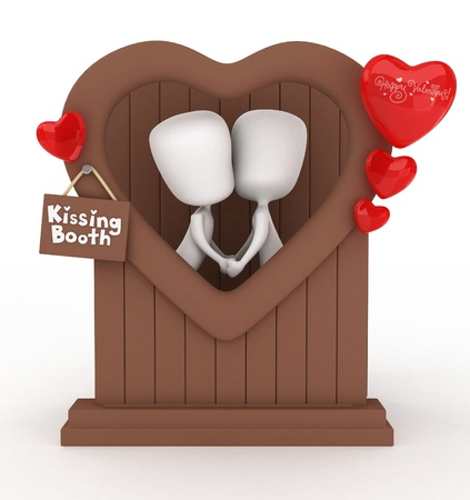 3D Illustration of a Man and Woman in a Kissing Booth illustration
