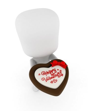 courtship: 3D Illustration of a Man Offering a Chocolate Treat with a Valentine Note Written on Top