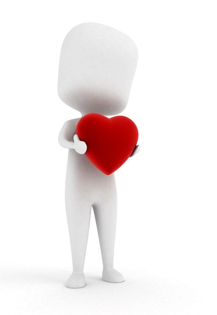 inlove: Illustration of a Man Holding a Red Heart
