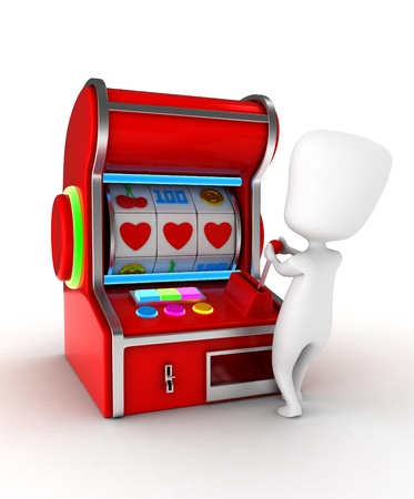 slot in: Illustration of a Man Getting a Combination of Hearts in a Slot Machine