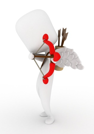 cupid man: Illustration of a Man Dressed as Cupid Preparing to Release an Arrow Stock Photo