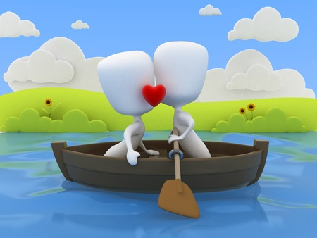 lovers kissing: 3D Illustration of a Couple Kissing on a Boat Stock Photo