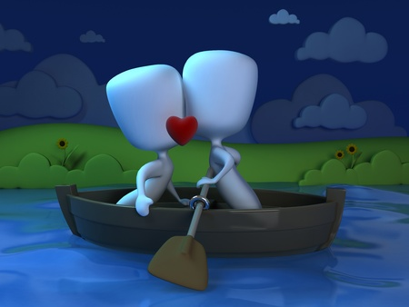 smooching: 3D Illustration of a Couple Kissing on a Boat Stock Photo