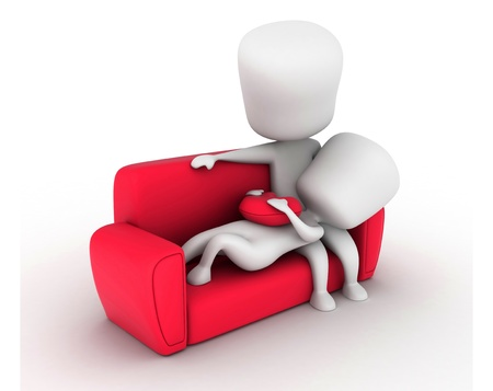 cuddle: 3D Illustration of a Couple on the Couch