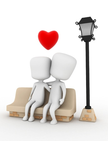 lampposts: 3D Illustration of a Couple Cuddling on a Bench Stock Photo