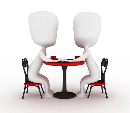 couple holding hands: 3D Illustration of a Couple Holding Hands in a Cafe Stock Photo