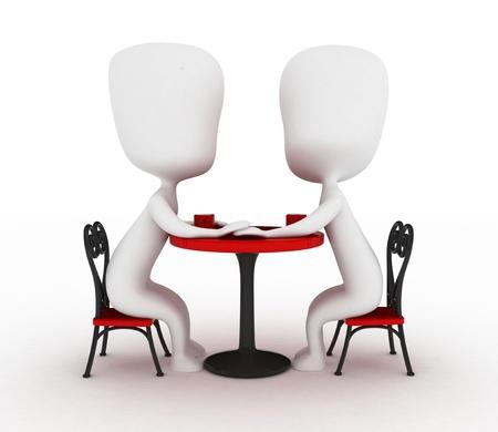 enamorados caricatura: Ilustraci�n 3D de la explotaci�n de una par de manos en un caf� Foto de archivo