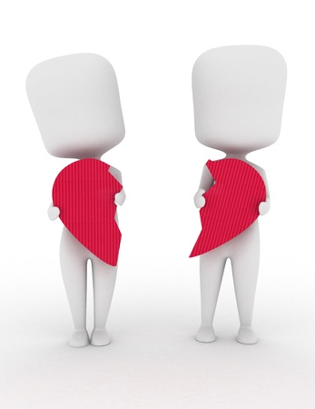 break up: 3D Illustration of a Man and Woman Holding Pieces of a Broken Heart