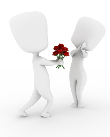 courtship: 3D Illustration of a Man Giving His Girl a Bouquet of Flowers